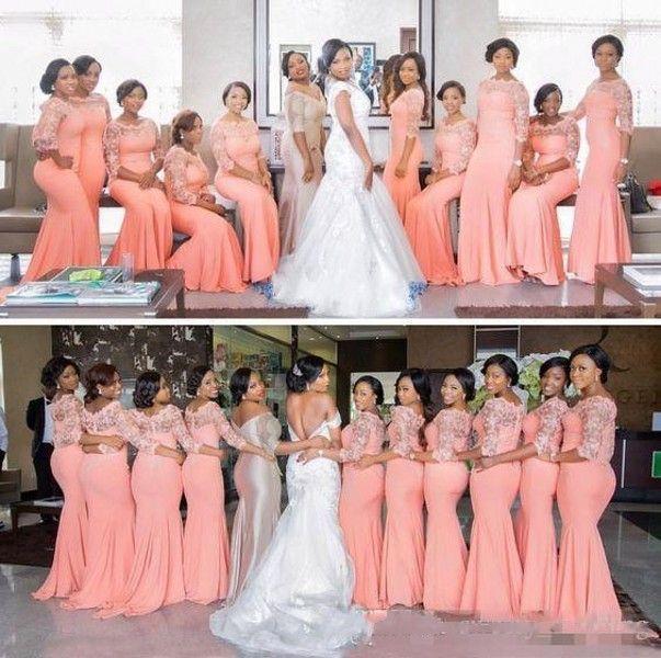 Pays d'Afrique du Nigeria Coral Robes de mariée 2020 Demi manches longues Top dentelle demoiselle d'honneur Robes pas cher Plus Size Wedding Dress Guest