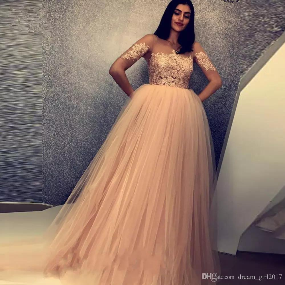 Muslim Tulle Lace Evening Dresses A-line Formal Islamic Dubai Saudi Arabic Pageant Gowns Floor Length Long Elegant Evening Gown