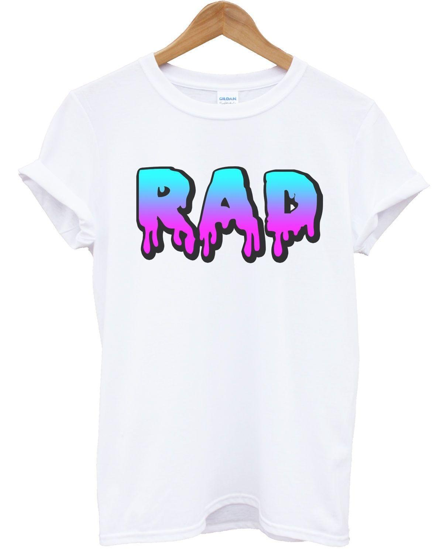 bd5ac0987a4a1 Rad Slime T Shirt Font 80's 90's Fashion Top Surf Radical Dude Men Women  Awesomecool Casual Pride T Shirt Men Unisex New Fashion