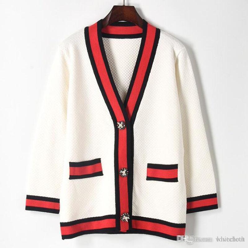 Luxury Designer Women sweaters Casual Hit Color V-neck Knitting Cardigan Ladies Pearl Rhinestone Buckle Sweaters Female Long Sleeve Sweaters