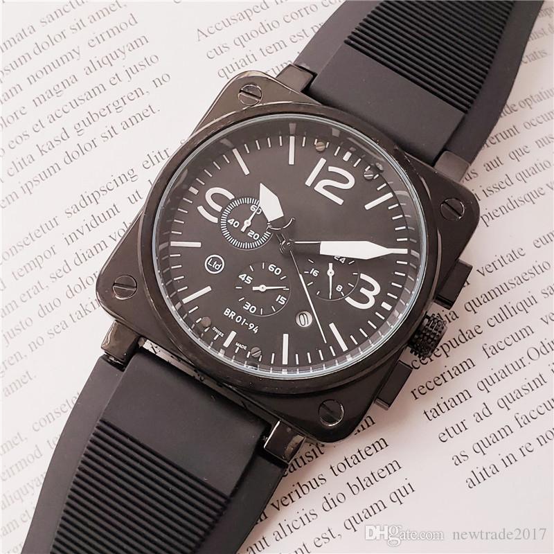 Mens relógios suíça de relógios de alta qualidade para cronógrafo homens movimento de quartzo relógios de grife caixa quadrada de borracha BR relógios relógio à prova d'água