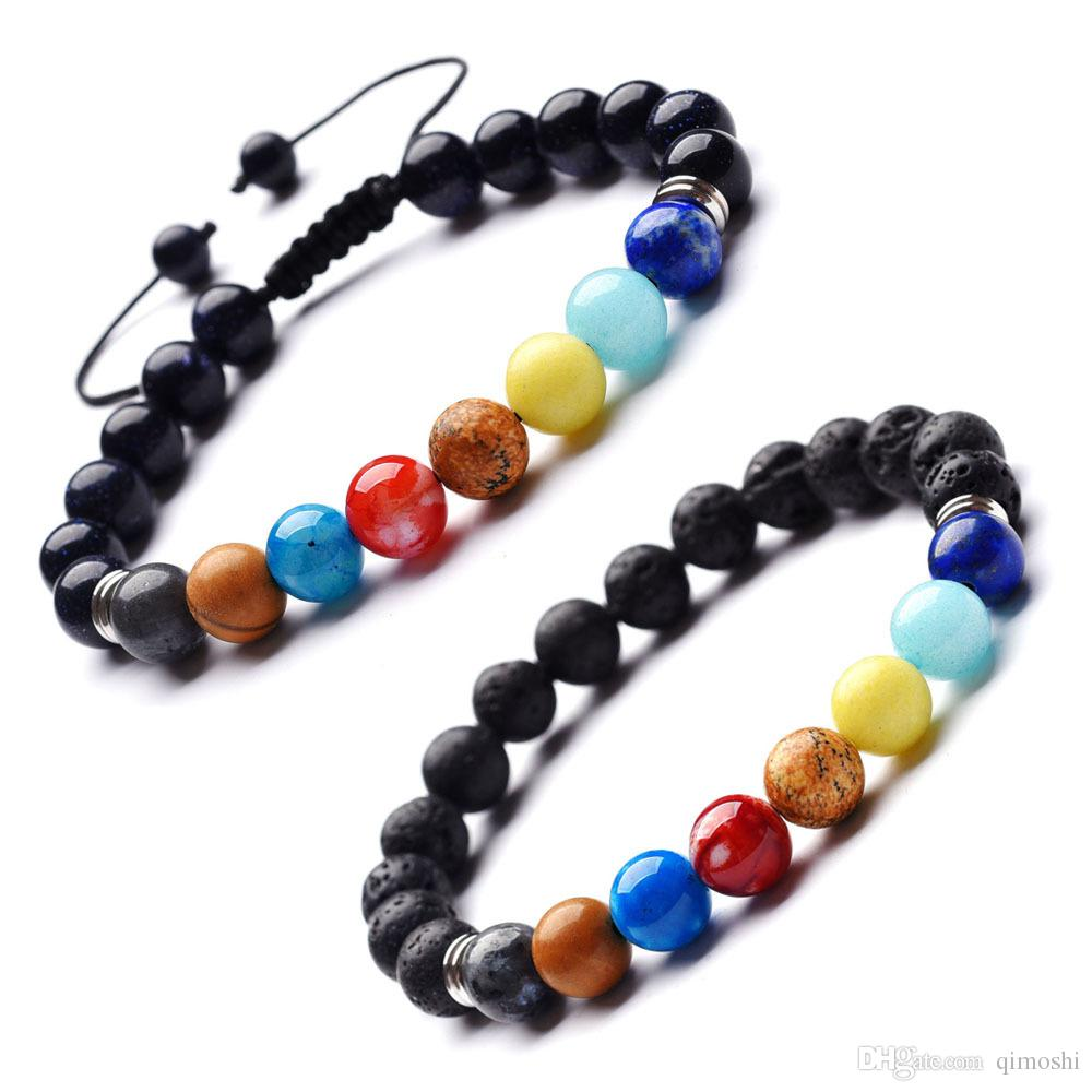 2018 10pc/set 7 Chakra Healing Bracelet, Adjustable Lava Diffuser Stone Bracelet,Fashion Bracelet Handmade Jewelry