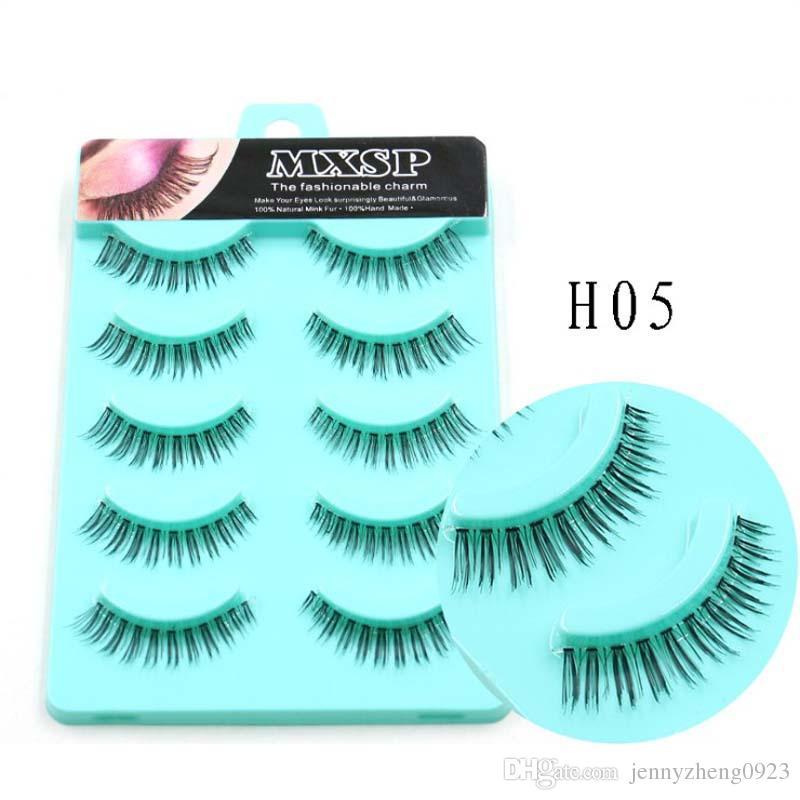 5Pairs/box Transparent Band Eyelashes Handtied Clear Band Lashes Thick HandMade Full Strip Lashes False Eyelashes #H05
