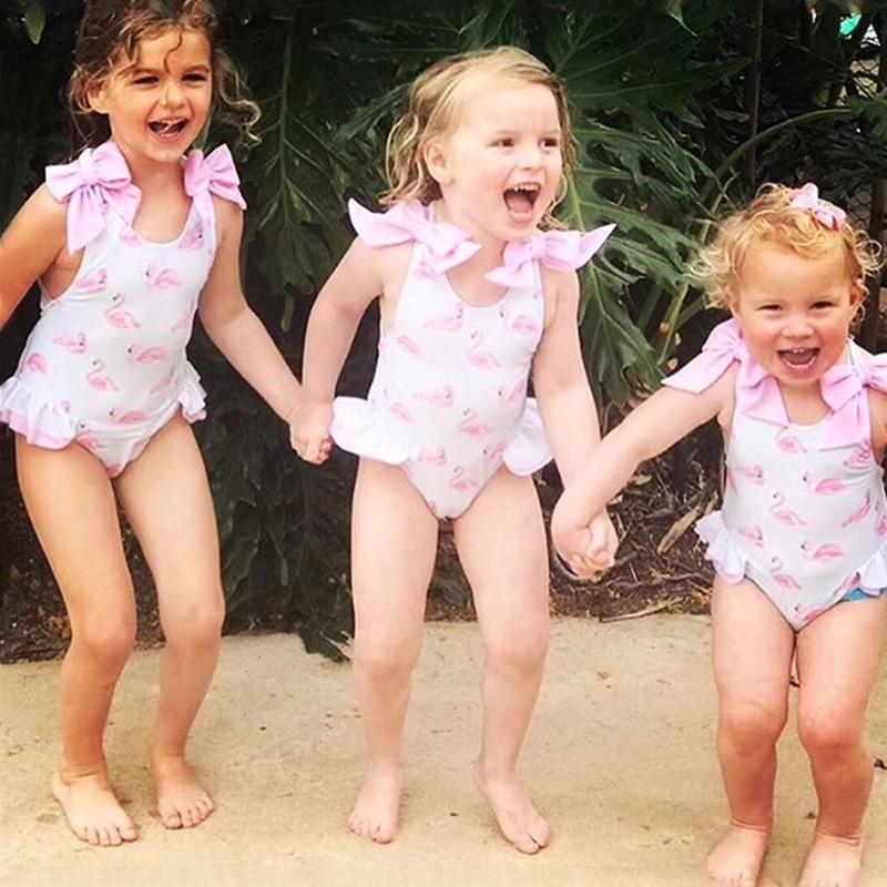 Kindermädchen Flamingo baby baby nette Prinzessin einteilige Bade Mädchen Badeanzug mit Kappe Schwimmanzug