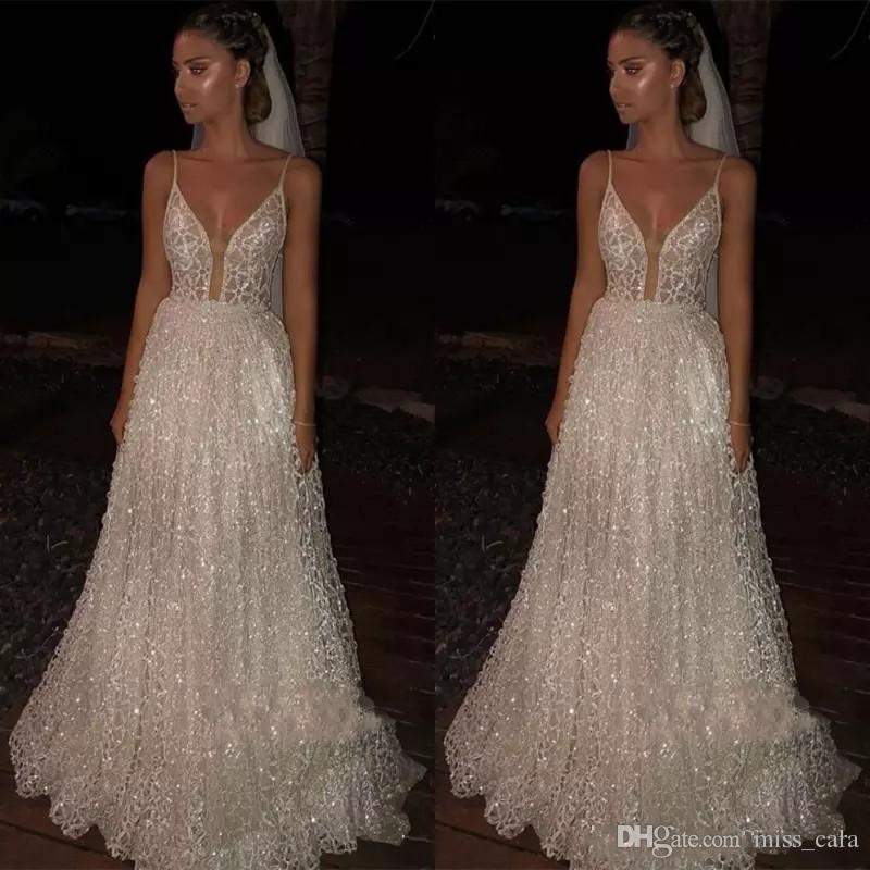 Faísca lantejoulas Prom Dresses 2019 Ocasião profundo decote em V Sexy Low Back Vestido Longo baratos Pageant Especial Vestido