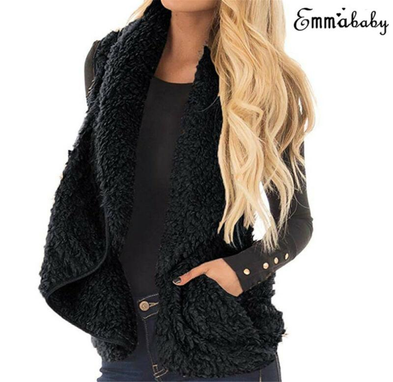 Mulheres Faux Fur Fleece Vest Brasão Ladies Jacket sólida Warm Spring Inverno Fleece Vest Outwear New Fashion
