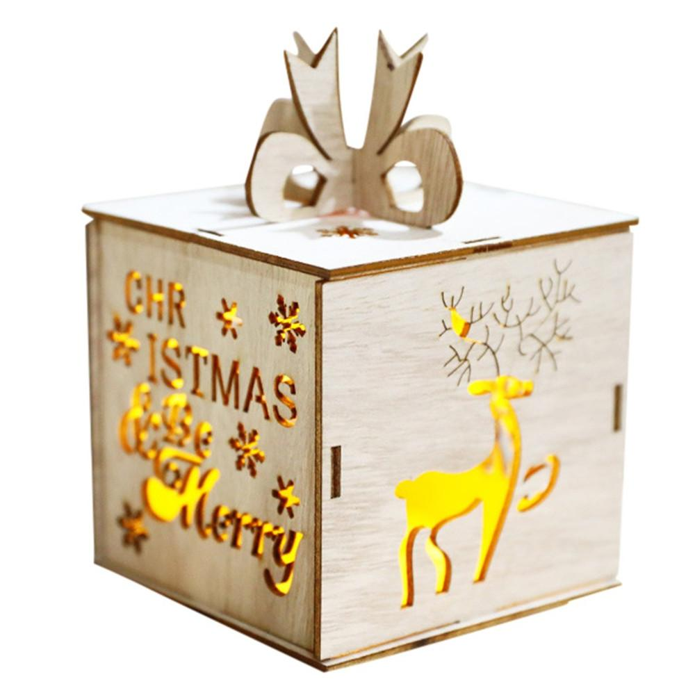 Le mele di legno LED scatola sveglia Ornamenti dell'albero di Natale della decorazione di festa di Natale d'epoca da regalo lucide decorazione Candy Box