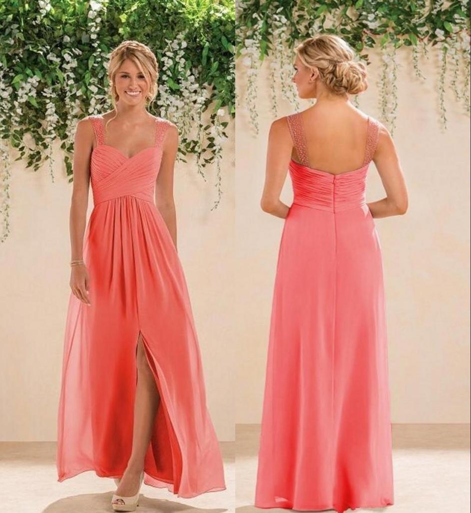 Кораллового шифон Страна Длинных линии Bridesmaids платья бретельки Backless Crystals бисер Пром платье невеста платье