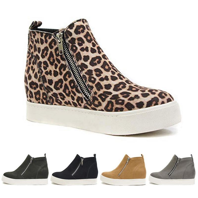 ADISPUTENT Kadınlar Sneakers Casual Ayakkabı Flats 2020 Kadınlar Leaopard Flats Platformu Bahar Yüksek Üst Kayma-on Nefes Kadınlar Tuval