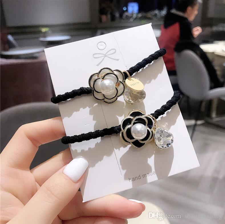 2020 vente chaude noir et blanc cheveux bande de caoutchouc sauvage accessoires pour cheveux coréenne strass cristal anneau de camélias de cheveux fashion ensembles femmes