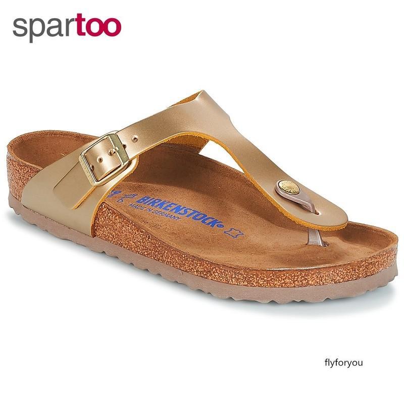 Chaussures femmes pantoufles en forme de T fraîche rose BK1011981 or