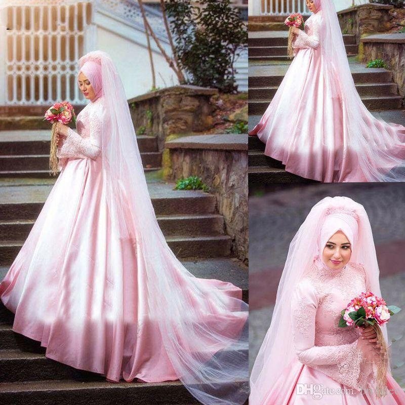 Robes de mariée musulmanes rose foulard en satin hijab dentelle perlée robe de bal robe de mariage Dubaï arabe Boho robe de mariée robe de mariée