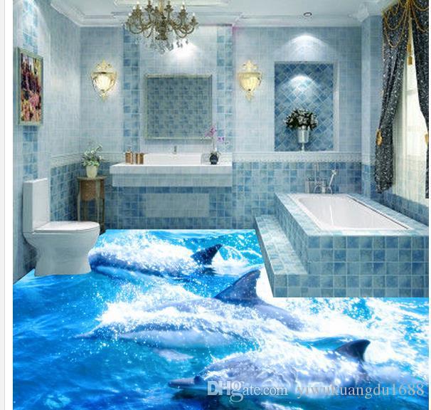 3d Ocean Dolphin Wave Bathroom Floor Tiles Wallpaper For Bathroom Waterproof Black Wallpaper Blue Wallpaper From Yiwukuangdu1688 196 Dhgatecom