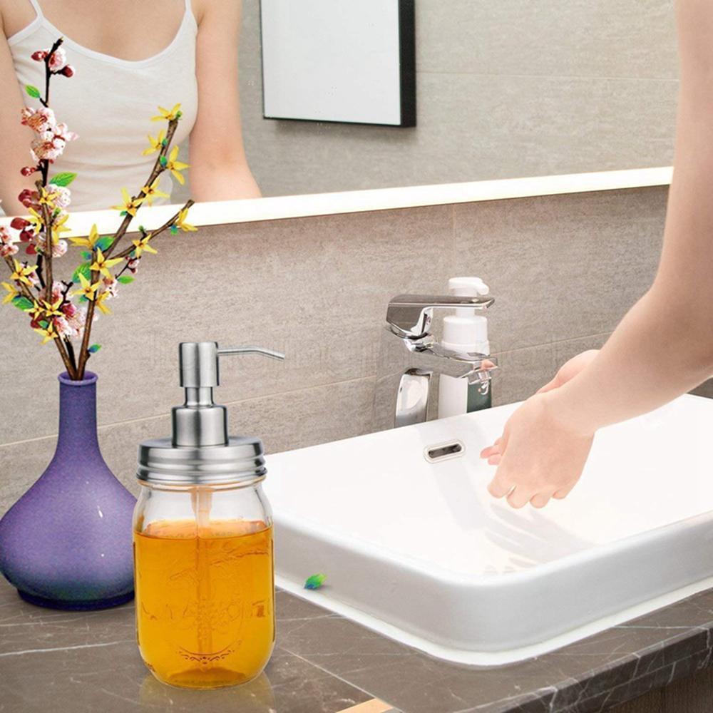 480ML Flüssigseifenspender Pumpe Mason Jar Creative Glass Handseifenspender Flüssigseife Flasche Dispenser Druckpumpe ohne Flasche FFA3030