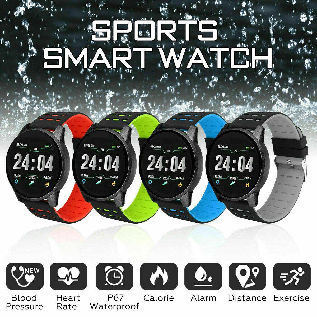 Reloj deportivo para hombre, reloj inteligente de frecuencia cardíaca, monitor de presión arterial para iOS, Android, a prueba de agua, banda inteligente, pulsera de fitness para mujer