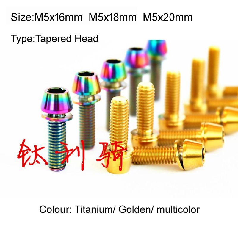 6Pcs M5 X9mm Titanium Aerospace Allen Hex Screw bike Tapered Head Bolts 3 colors