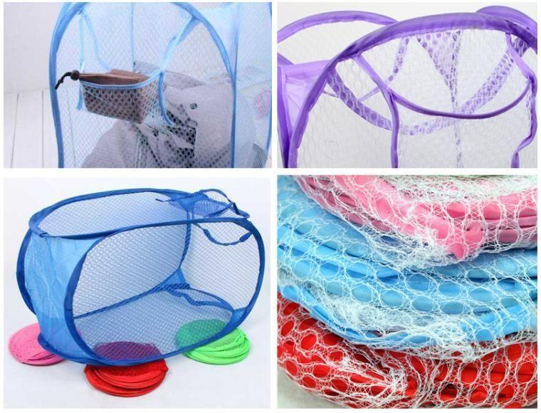 Malla de lavar plegable cesta de la ropa de almacenamiento suministra Pop Up Ropa que se lava la cesta de lavadero Bin cesto de malla bolsa de almacenamiento SN2958