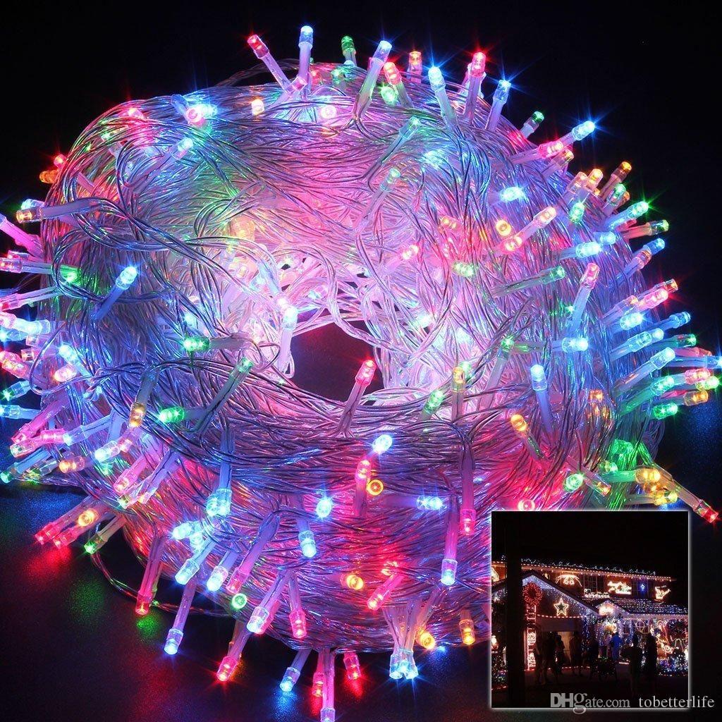 أدى 10M 20M 30M 50M سلسلة الأنوار الاتحاد الأوروبي التوصيل الولايات المتحدة حزب عطلة شجرة زخرفة خرافية أضواء مصباح عيد الميلاد 110V 220V RGB دافئ الأبيض