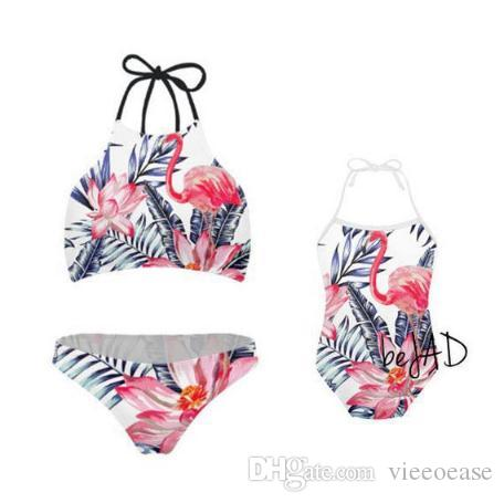 Vieeoease Girls Floral Swimwear One-pieces Swim Kids Clothing 2019 Summer Fashion Print Ruffles Princess Swimwear for Mommy and Me CC-467