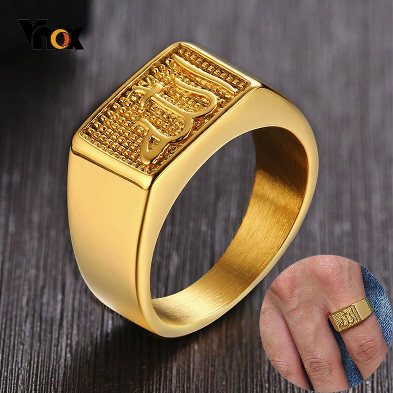 Plaza Vnox Anillo superior de tono oro de los hombres de acero inoxidable anillos de sello elegante Carta informal sello Anel