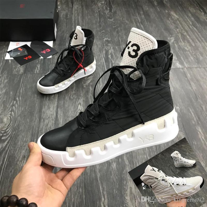 2019 새로운 정품 가죽 Y3 캐주얼 신발 부츠 Kanye 웨스트 레드 화이트 블랙 높은 최고 남성 운동화 방수