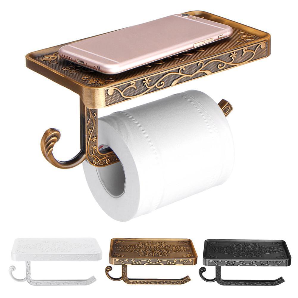 El zinc antiguo tallado aleación montado en la pared Portarrollos de tejido sostenedor del soporte del teléfono móvil con plataforma de baño de toallas de papel