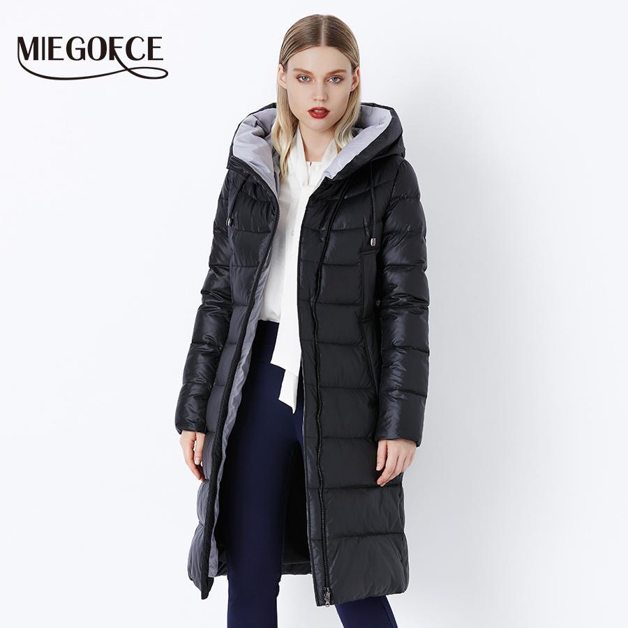 MIEGOFCE 2019 Ceket Ceket Kış kadın Kapüşonlu Sıcak Parkas Bio Kabartmak Parka Ceket Yüksekliği Kaliteli Kadın Yeni Kış Koleksiyonu Sıcak T5190612
