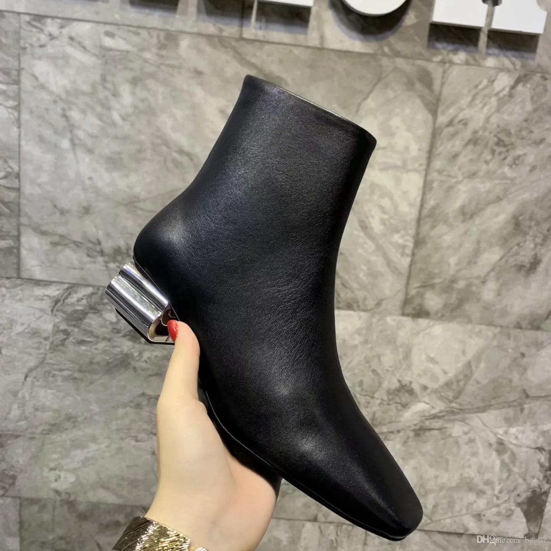 Marca botas de cuero reales Mejor calidad de los zapatos zapatos de cordones de botas de las botas del tobillo Martin botas de moda Eu: 35-40 Con la caja DHL libre BL2506