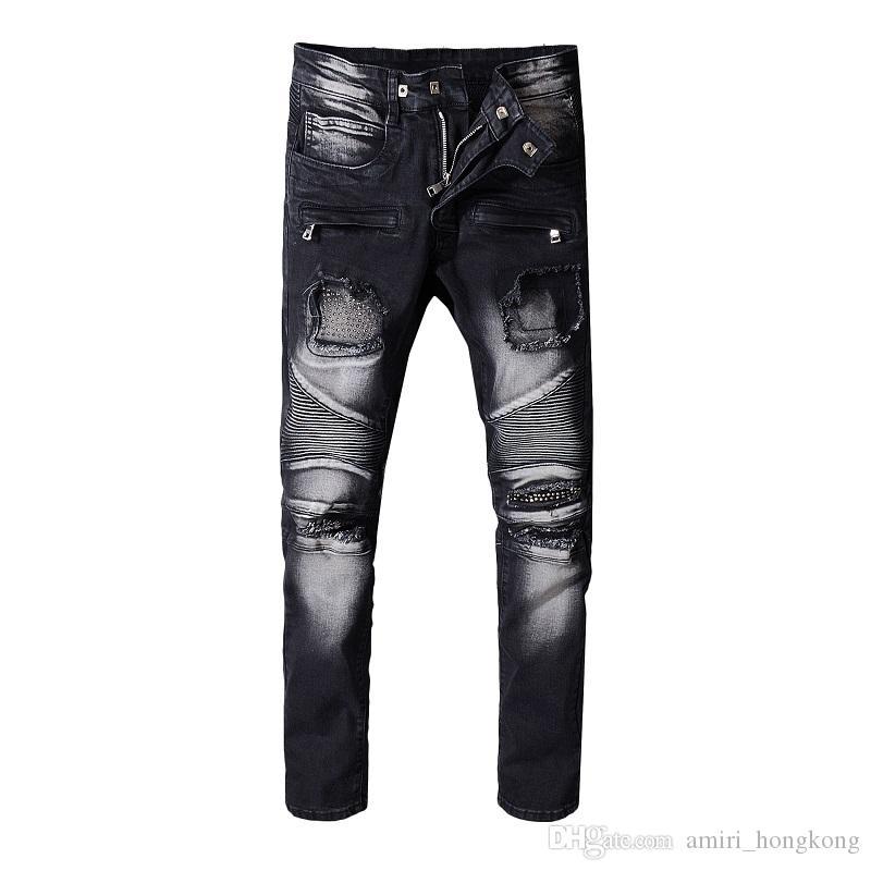 """16 """"новые французские модные мужские джинсы высокого качества синего цвета скинни Fit рваные джинсы рваные джинсы байкерской джинсовой ткани High Street"""
