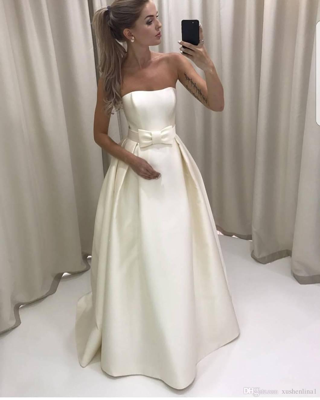 Discount Simple Strapless A Line Wedding Dress Matte Satin High Quality Bride Gown Custom Made Ivory Bridal Long Dress Mariage Back Zipper Vestidos