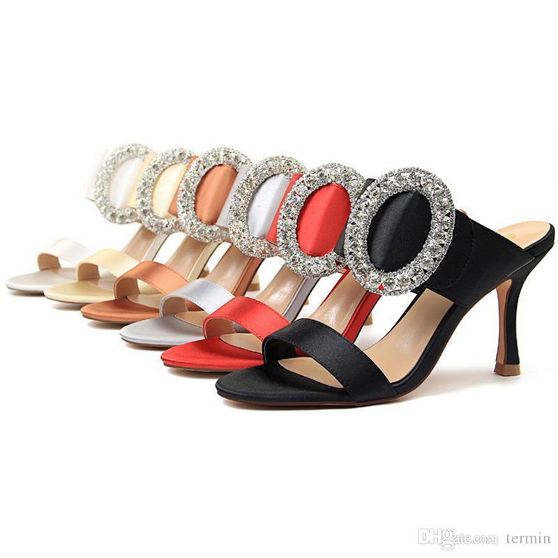 toka kadın terlik yüksek topuklu olmadan 2020 yaz ayakkabı kadın moda kare ayak sandalet Metal yapay elmas ile pompalar. TY-91