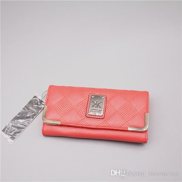 KK Wallet Envelope farblich passenden Umschlag Verdreifachung Mappe der Frauen glatt Kalbsleder triple-Falten Multifunktions- Farbanpassungs