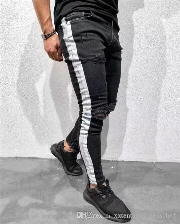 Slim Fit Рваные Джинсы Мужская Одежда Мода High Street Колено Отверстия Белый Полосатый Дизайнер Черные Джинсы