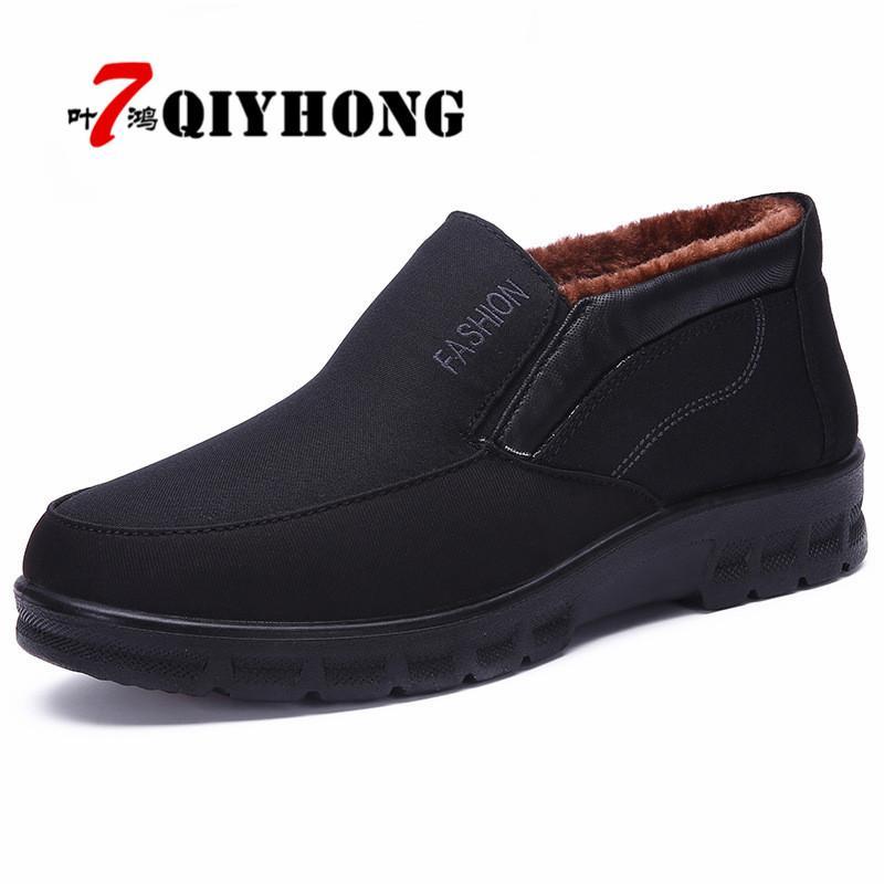 Ayakkabı On Büyük Beden 38-48 Klasik Erkekler Su geçirmez Boots Ayakkabı Kış Sıcak Kürk Kar Boots Erkekler Kayma Boot Kaymaz Açık Man