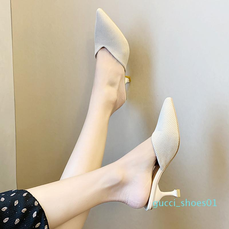 Scarpe a punta Calzature Donna 2020 talloni della donna pantofole Med sottili tacco Mules Shallow Mocassini Estate New Soft Cover Alta diapositive g01