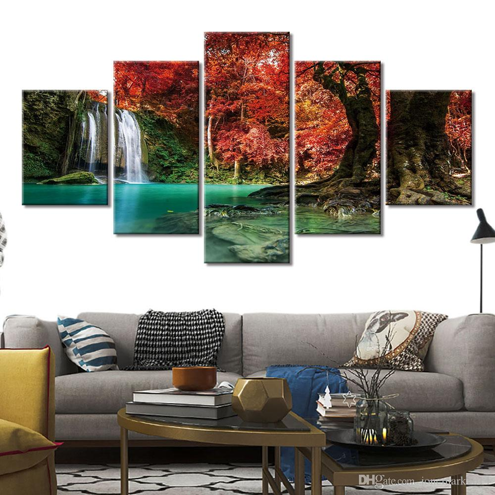 Waterfall Abstract oil Paint Reprint On framed Canvas Wall Art Home Decoration