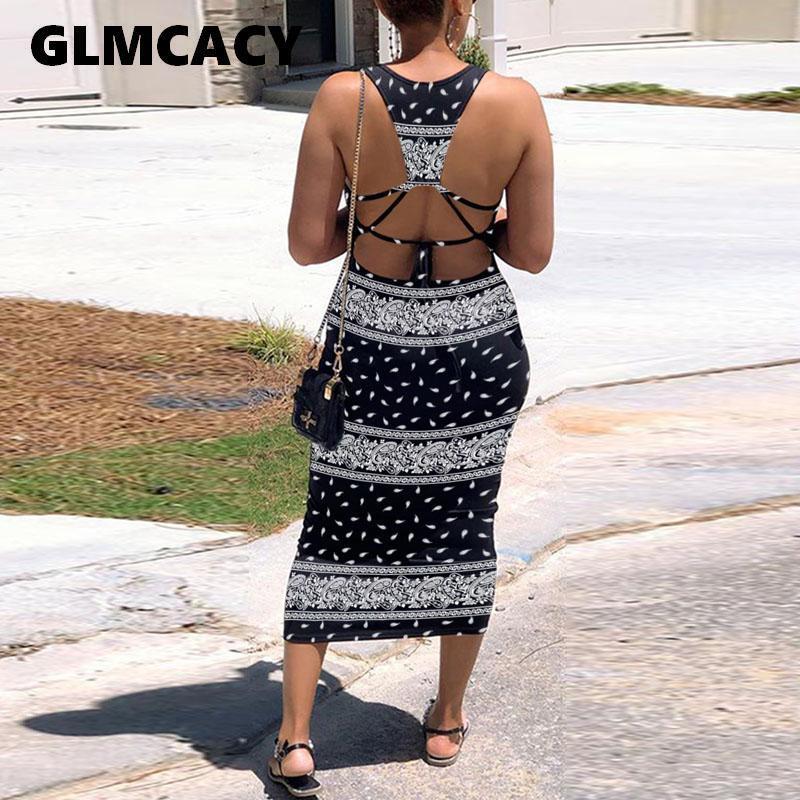 Tamaño más informal 3XL verano de las mujeres sin mangas de Bodycon del partido sin espalda vestido de noche atractivo del vestido de Boho ropa de playa