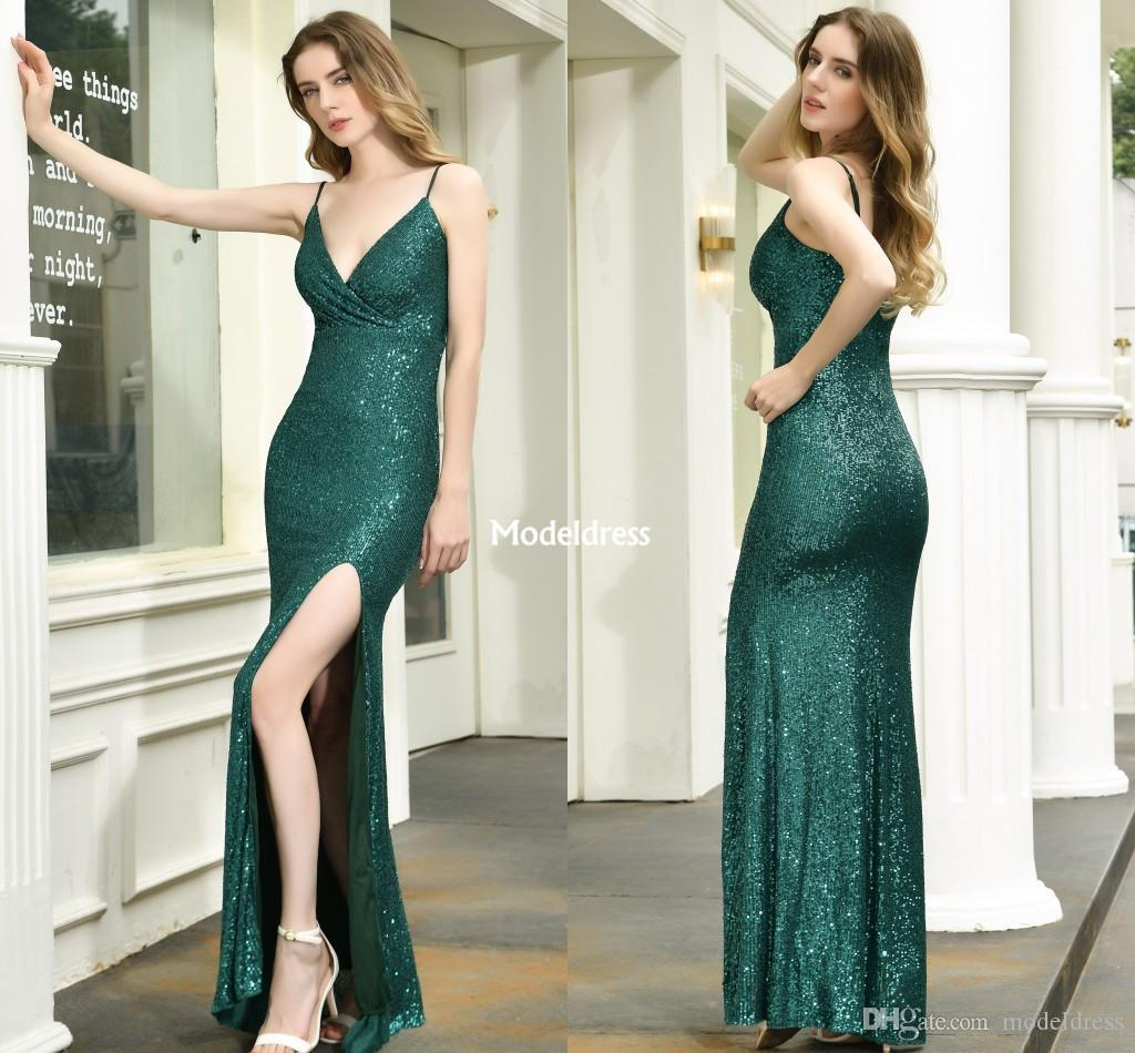 Sexy High Side Split Green Prom Dresses Mermaid Spaghetti Floor Length Formal Party Evening Gowns Special Occasion Dresses Cheap Vestidos