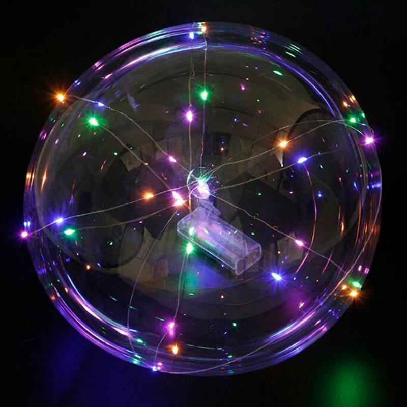 Griff führt Ballon Luminous Transparent Helium Bobo Ballons Hochzeit Geburtstag Kinder LED-Licht-Ballon-Partei-Dekorationen IIA135