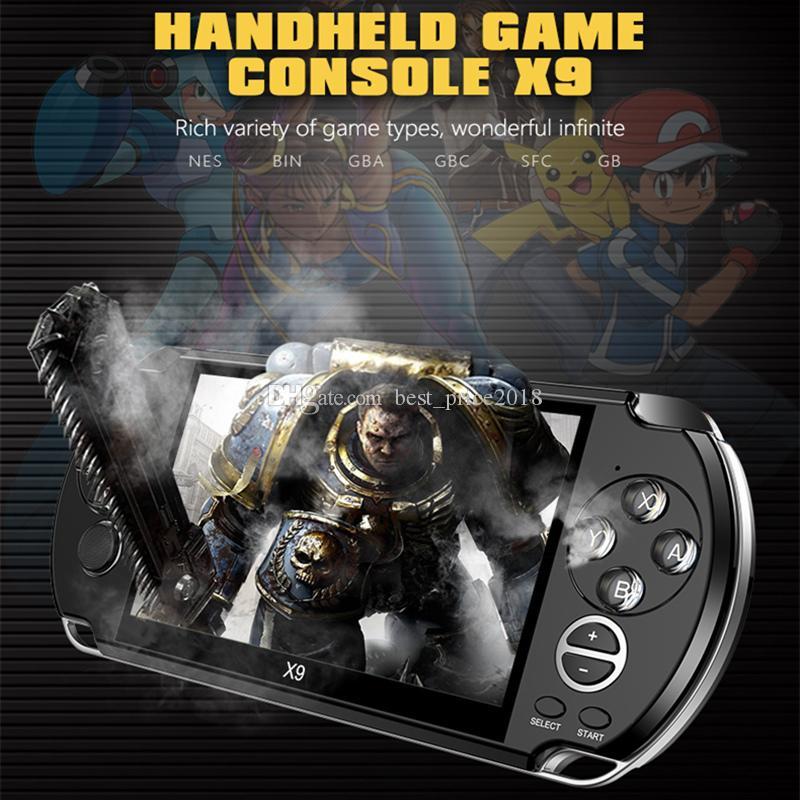 X9 mise à niveau du joueur jeu portable 5,1 pouces grand écran Jeu Portable Console Lecteur MP4 avec caméra TV Out TF vidéo pour GBA FC Jeu