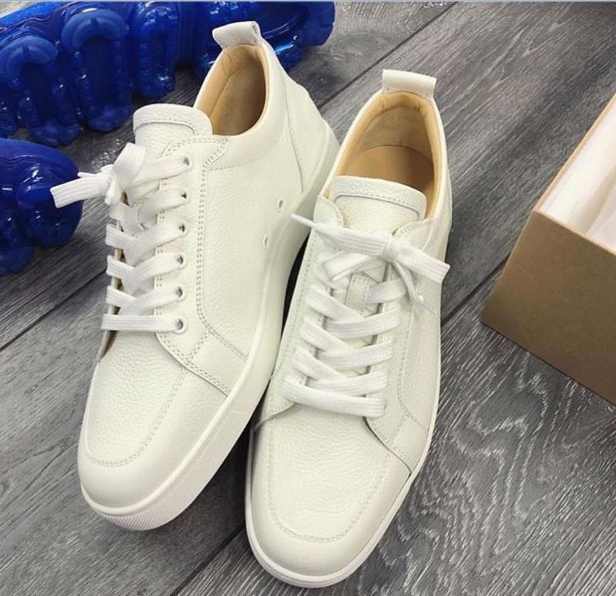 مصنع بالجملة الحبيبات الجلدية الكلاسيكية Rantulow شقة جلدية أحذية رياضية أحذية الأحمر أسفل جديد LowCut صالح الرجال أحذية الأحمر الوحيد شحن مجاني