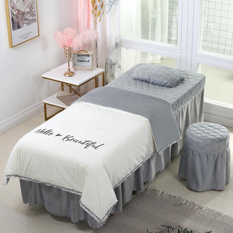 4 pcs Beauty Beauty Salon Conjuntos de Cama de Massagem Use Coral Veludo Bordado Duveta Capa Cama Skirt Folha de Quilt #s