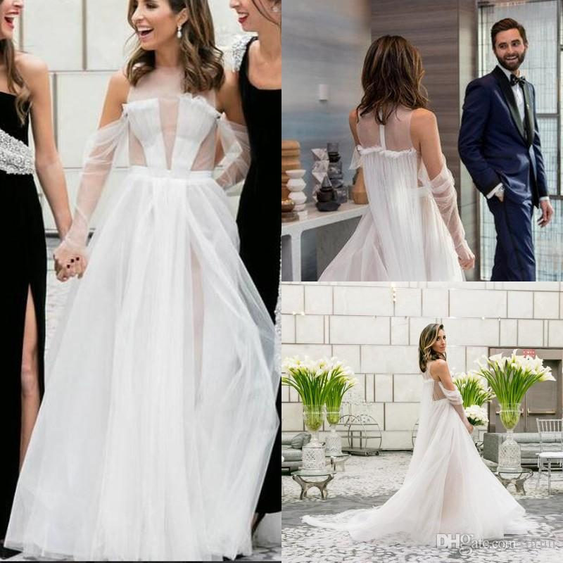 Discount See Though Jewel Neck Illusion A Line Wedding Gown Modern