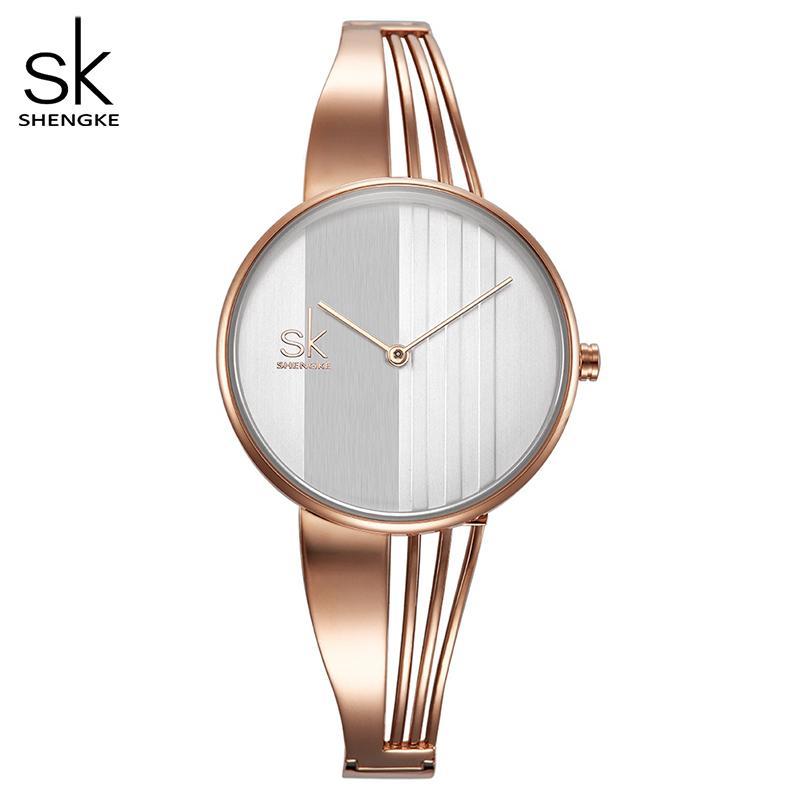 Shengke moda feminina feminina relógios charme senhoras pulseira pulseira de pulseira de quartzo relógio mulheres montre femme relogio feminino
