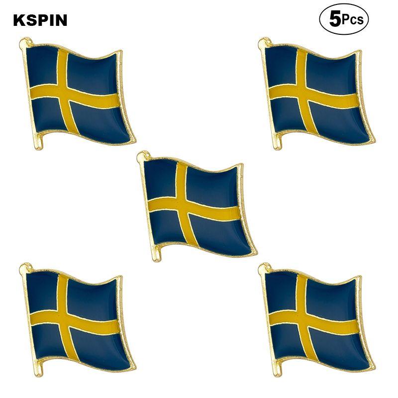 Швеция Флаг брошь булавка флаг бейдж Брошь Pins Жетоны 5шт Много