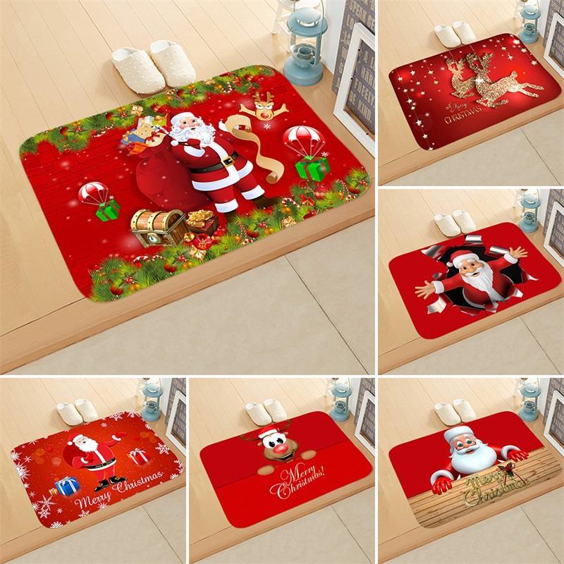 Porta Feliz Natal Mat Papai Noel Elk Prints flanela superfície tapete do banheiro Para Casa Decor não derrapante 40 x 60cm 6QJ E1