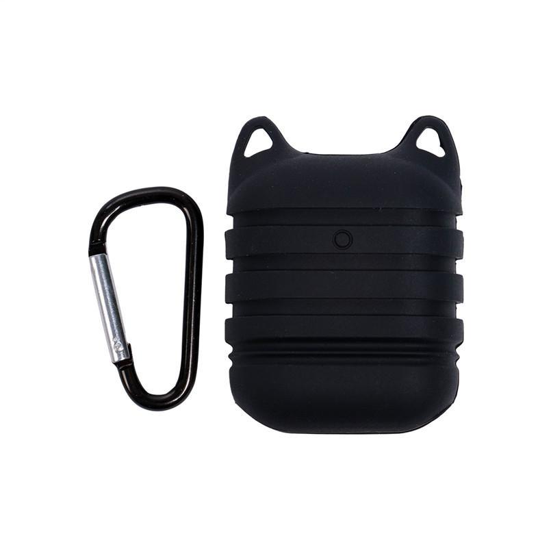 I casi con auricolare gancio della pelle di caso della calotta di protezione del silicone auricolari sacchetto per AirPods auricolare Accessori