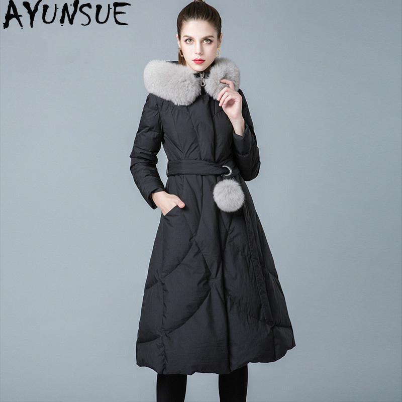 Winter Coat Women 90% White Duck Down Jacket Woman Hooded  Fur Collar Long Down Coats Puffer Jacket 2019 8841199 KJ2620