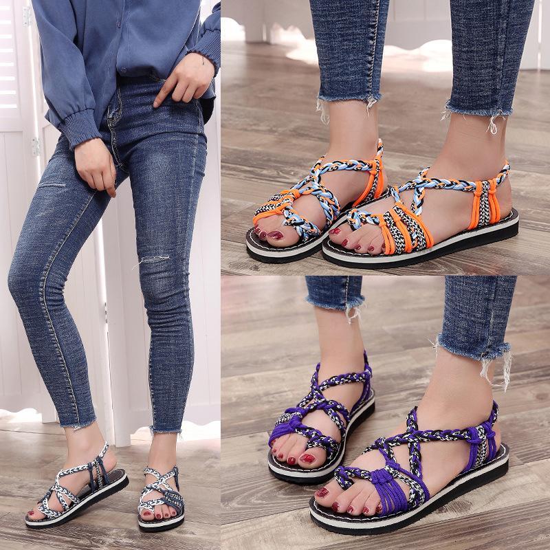 Large Beach Femmes Rope 2019 3 Taille Summer New Classic Plat Chaussures Toe Toe Tresse Sandales Traitée Elastic Couleurs QMFse