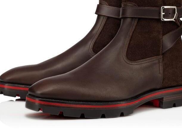 Designer-Brown, Black Leather Lug Sole Man Red inferior Botas Man Moda Martin Luxo Sapatinho melhor presente
